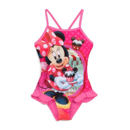 MINNIE - Maillot de Bain Rose 1 Piece Imprimé - Enfant Fille