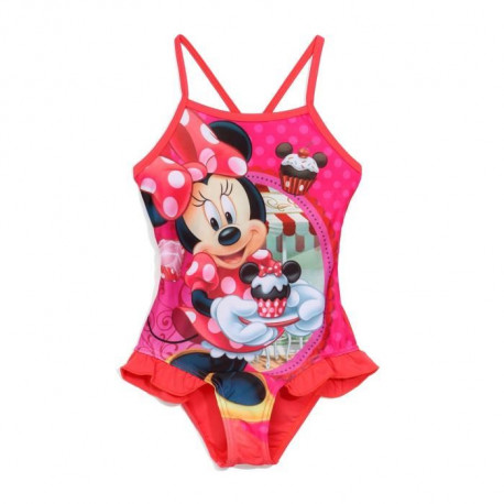 MINNIE - Maillot de Bain Rouge 1 Piece Imprimé - Enfant Fille