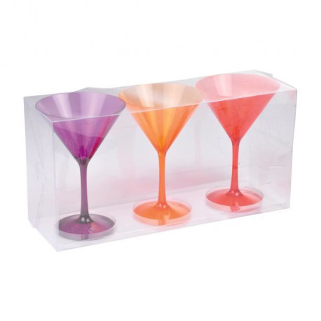 Lot de 3 verres a cocktail acrylique - Violet / Orange / Rouge