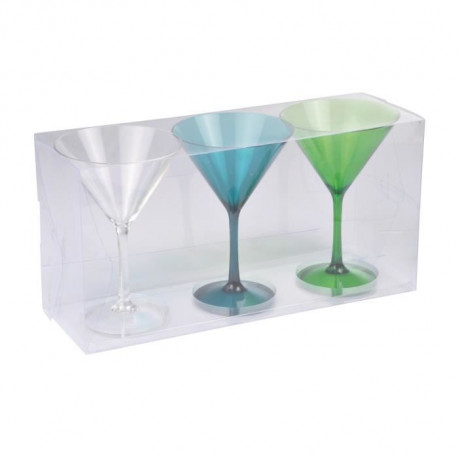 Lot de 3 verres a cocktail acrylique - Transparent / Bleu / Vert