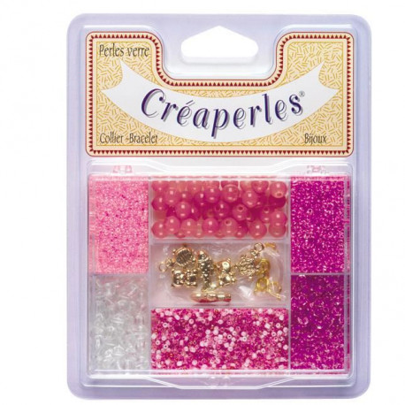 KIMPLAY Kit perles en verre - Rose