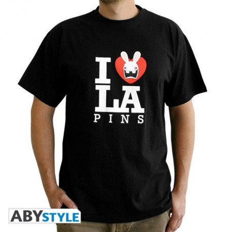 "ABYSTYLE T-shirt Lapins Crétins ""Love Lapin"" - Noir - Homme"