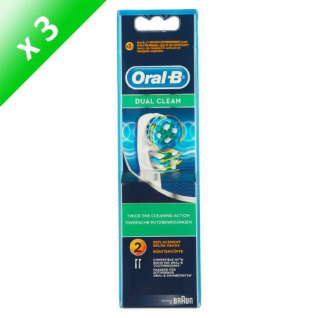 ORAL B Brossettes Dual clean - 2 tetes de rechange - Lot de 3