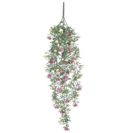 MICA DECORATIONS Plante Artificielle Rose a Suspendre Jaune  L74 cm