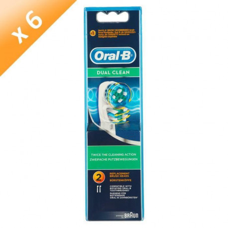 ORAL B Brossettes Dual clean - 2 tetes de rechange - Lot de 6