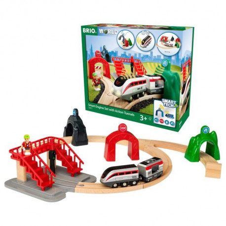 BRIO World  - Smart Tech - 33873 - Circuit De Voyageur & Locomotive Intelligente