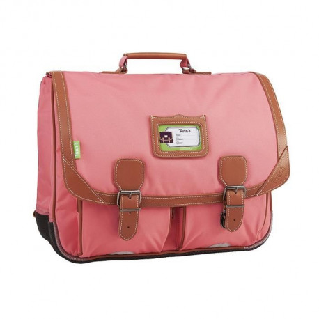 TANN'S Cartable - 2 Compartiments - Primaire - 41 cm - Rose corail - Enfant fille
