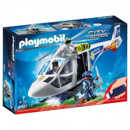 PLAYMOBIL 6921 - City Action - Hélicoptere de Police avec Projecteur de Lumiere