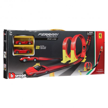 Circuit Double Looping Ferrari +2 voitures 1/43eme