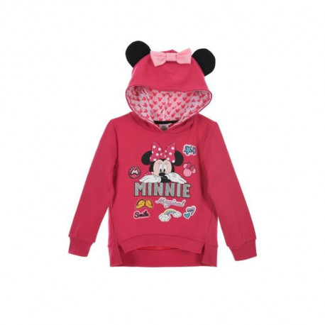 MINNIE  Sweat a Capuche Fuchsia Sérigraphié Enfant Fille