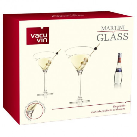 "Lot de 2 Verres Cocktail 26 cl Vacu Vin ""Martini"""