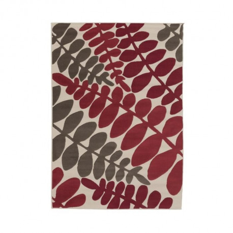 LUXUS Tapis de salon contemporain - 160x225cm - Rouge / Ivoire