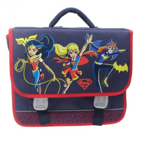 SUPER HERO GIRLS Cartable 2 compartiments - Primaire - Fille - Bleu - 38 cm