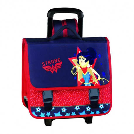 SUPER HERO GRILS Cartable 3 compartiments - Primaire - Fille - Bleu - 41 cm