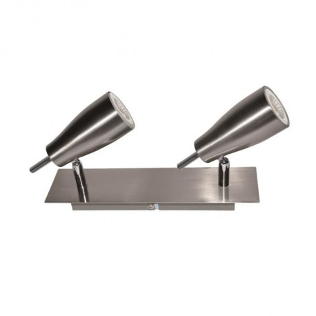 Barre de spots 2 lumieres LED en nickel satiné - L 25,5 x l 10 cm