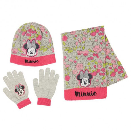 DISNEY MINNIE MOUSE Lot de Bonnet + écharpe + gants - Enfant Fille