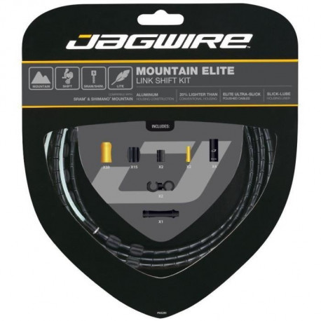 JAGWIRE Kit câble dérailleur Mountain Elite Link Shift - Avant,arriere, gaine, train - Résistant - Noir