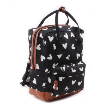 KIDZROOM Sac a dos maternelle - Black & White Coeurs noirs