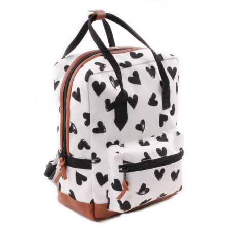 KIDZROOM Sac a dos maternelle - Black & White Coeurs blancs