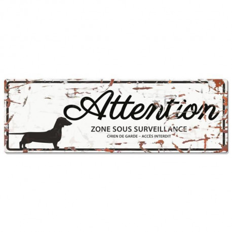 D&D Plaque Attention Chien Dachshund - Blanc