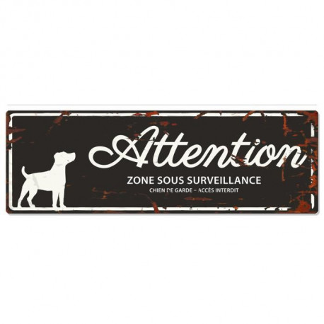 D&D Plaque Attention Chien Jack Russel - Noir