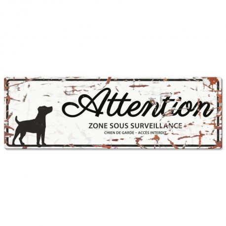 D&D Plaque Attention Chien Jack Russel - Blanc