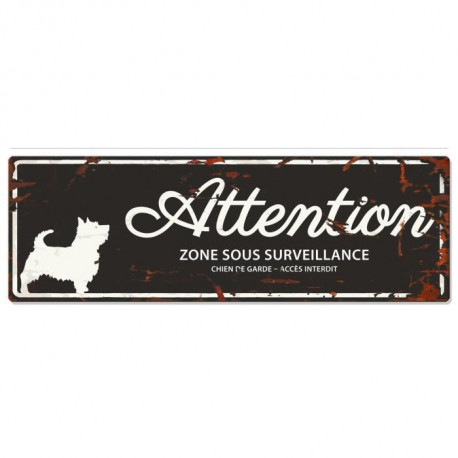 D&D Plaque Attention Chien Terrier - Noir