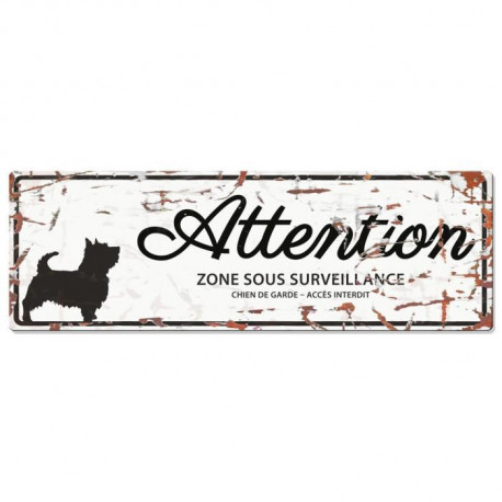 D&D Plaque Attention Chien Terrier - Blanc