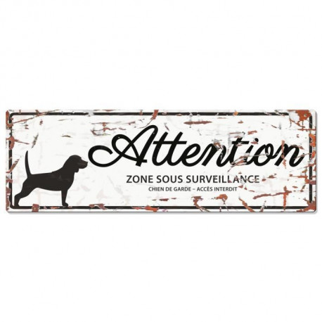 D&D Plaque Attention Chien Beagle - Blanc