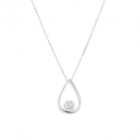 LE DIAMANTAIRE - Collier pendantif Poire Or Gris 375/1000 Femme