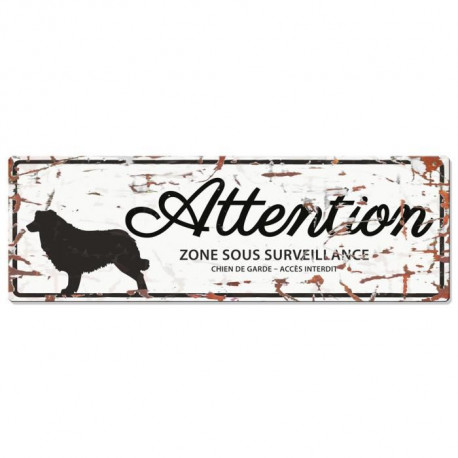 D&D Plaque Attention Chien Collie- Blanc