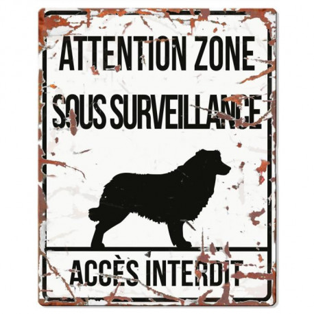 D&D Plaque Attention Chien  Collie - Blanc