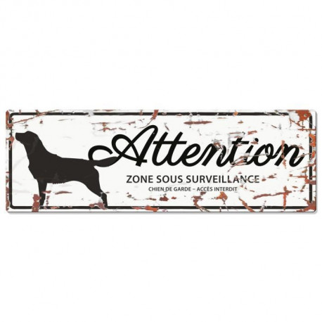 D&D Plaque Attention Chien Retriever - Blanc