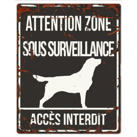 D&D Plaque Attention Chien  Retriever - Noir