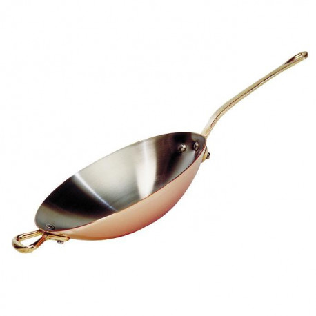 DE BUYER Wok cuivre inox a queue laiton - ø 32 cm