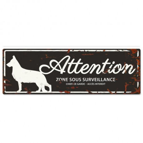 D&D Plaque Attention Chien German Shepheard - Noir