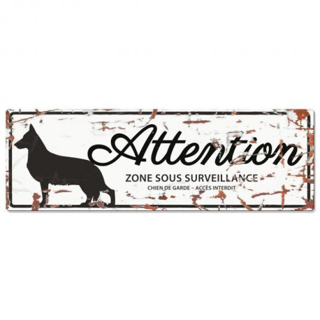 D&D Plaque Attention Chien German Shepheard - Blanc