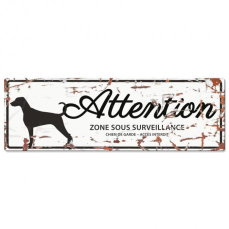 D&D Plaque Attention Chien Dalmatien - Blanc
