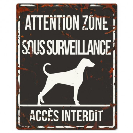 D&D Plaque Attention Chien  Dalmatien - Noir