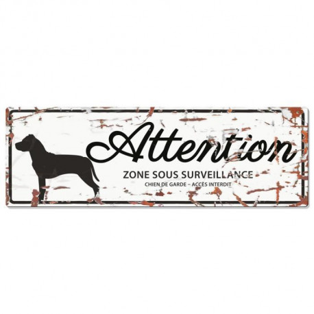 D&D Plaque Attention Chien Stafford - Blanc