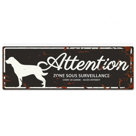 D&D Plaque Attention Chien Rottweiler - Noir