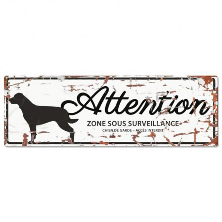 D&D Plaque Attention Chien Rottweiler - Blanc