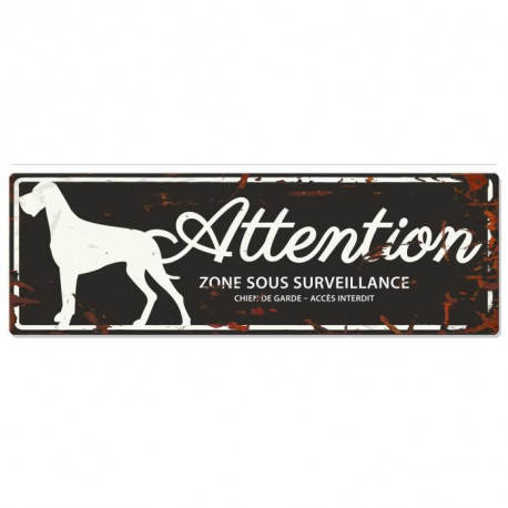 D&D Plaque Attention Chien Danish Dog - Noir