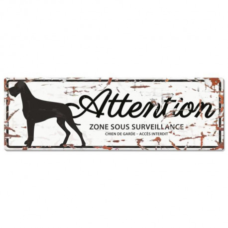 D&D Plaque Attention Chien Danish Dog - Blanc