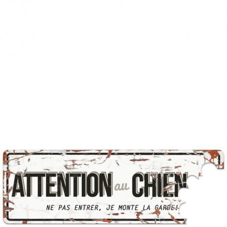D&D Plaque Attention Chien Beware of the Dog - Blanc  / Gris