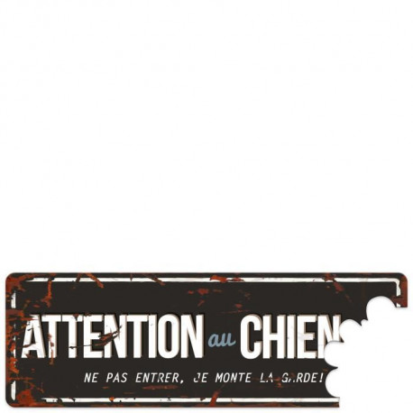 D&D Plaque Attention Chien Beware of the Dog - Noir  / Bleu