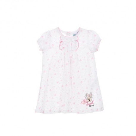 MINNIE Ensemble Rose Pâle Robe + Bloomer Sérigraphié Bébé Fille
