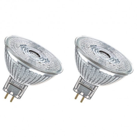 OSRAM Lot de 2 Ampoules spot LED MR16 GU5,3 5 W équivalent a 35 W blanc chaud dimmable
