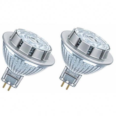 OSRAM Lot de 2 Ampoules spot LED MR16 GU5,3 7,8 W équivalent a 50 W blanc chaud dimmable