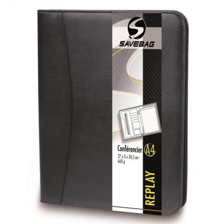 SAVEBAG Conférencier porte-tablette REPLAY format A4 - Noir